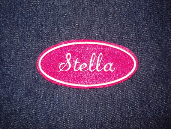 Oval Name Patch - hot pink with white embroidery
