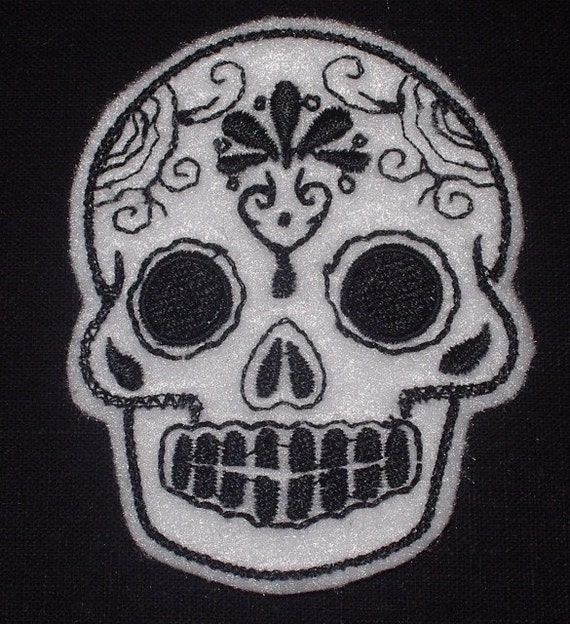 Mexican Day of the Dead Sugar Skull Patch Embroidery black and limeMini white with black Mexican Sugar Skull embroidery patch
