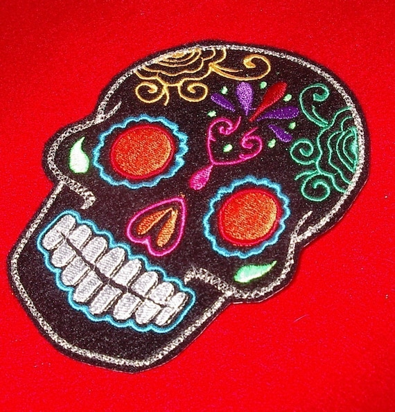Day of the Dead, Black Sugar Skull Embroidery Patch orange eyes 5x7 inch