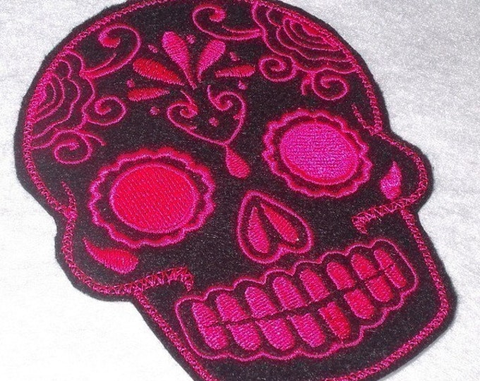 Mexican Day of the Dead Sugar Skull Patch Embroidery black and limeDay of the Dead, Sugar Skull EMBROIDERED patch '15'