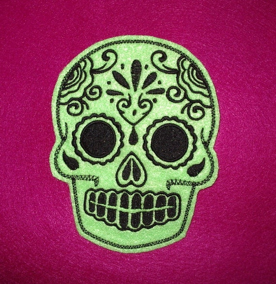 Mexican Day of the Dead Sugar Skull Patch Embroidery black and limeMexican Day of the Dead Sugar Skull Patch Embroidery lime and black