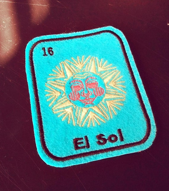 El Sol Loteria Patch Iron On  mexican folk art patch