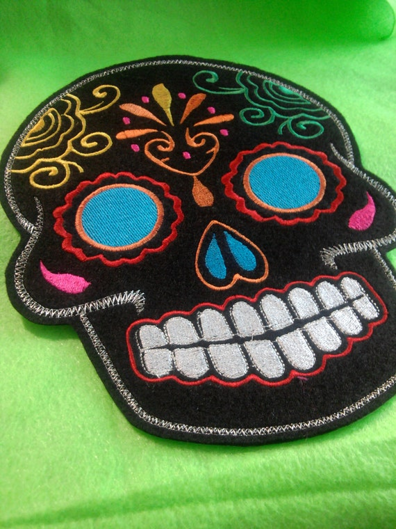 XL Sugar Skull EMBROIDERED patch  multi blue eyes Day of the Dead