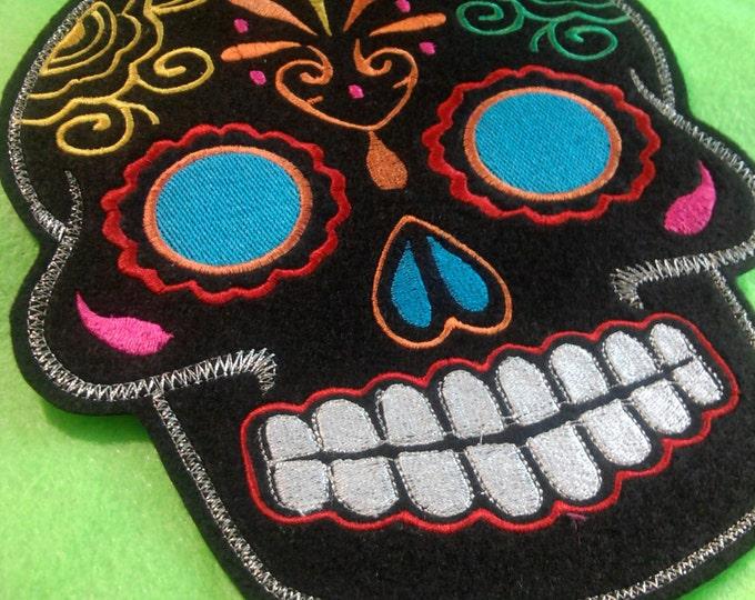 Sugar Skull embroidery patch 8X10 in. black multi turquoise blue eyes Dia de los Muertos