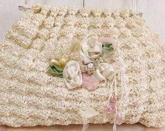 SALE Vintage Roses rafia handmade bag
