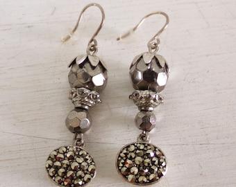 Vintage Marcasites charcoal crystal silver dangle earrings