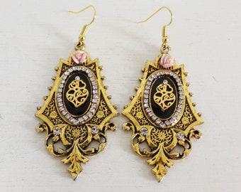 Viana heart rose rhinestones ornated Portuguese dangle earrings