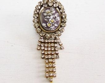 Vintage rhinestones Floral Cameo chandelier brooch