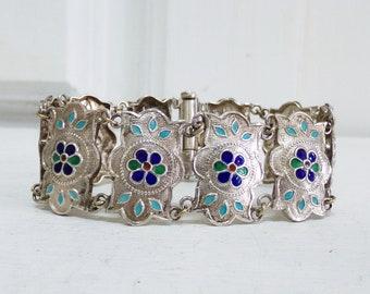 Vintage enamel flower Sterling silver medallion bracelet