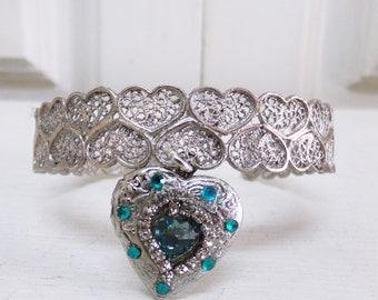 Vintage Portuguese filigree cuff Locket heart rhinestones bracelet