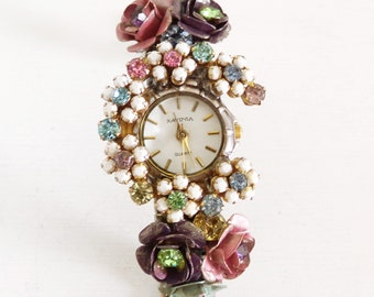 Vintage Flowers rhinestones Working ladies quartz watch Ravinia