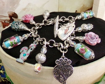 Viana heart locket Portuguese rooster charm bracelet
