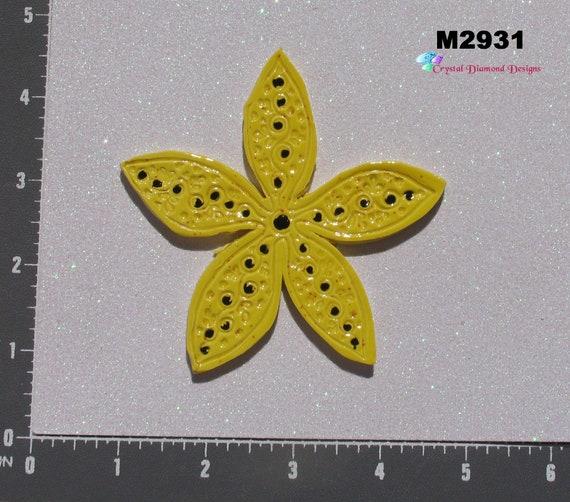 Yellow Flower  Kiln Fired Handmade Mosaic Tiles M2931
