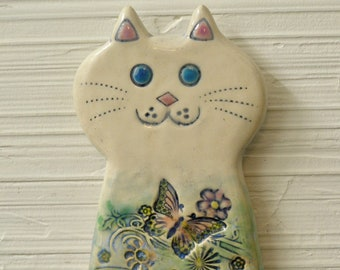 Ceramic  Tall  White Cat wall tile . wall hanging, , cat lover gift, nursery gift, kids room, Cat with butterfly, garden cat