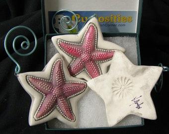 3 Porcelain bisque SeaStar ornament.  Starfish, , beach or bath decor, starfish ornament,