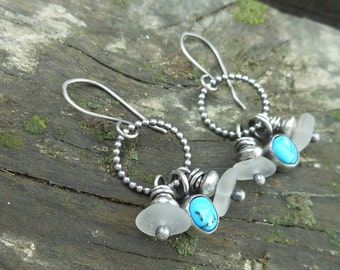 Turquoise and Sea Glass Cluster Earrings