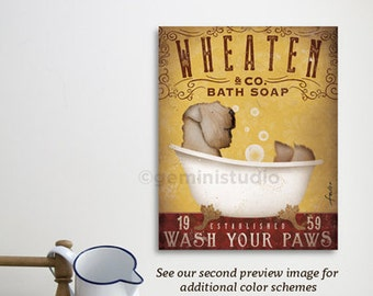 Wheaten Terrier dog bath soap Company artwork on gallery wrapped canvas by Stephen Fowler