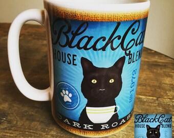 Black Cat Coffee Mug Etsy
