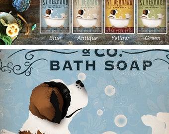 37cbe4b4318c St Bernard saint bernard dog bath soap Company vintage style artwork by  Stephen Fowler Giclee Signed Print