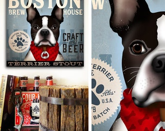 BOSTON TERRIER DRINKING BEER VINTAGE BAR 1959 REPRO DOG PHOTO *CANVAS* ART PRINT
