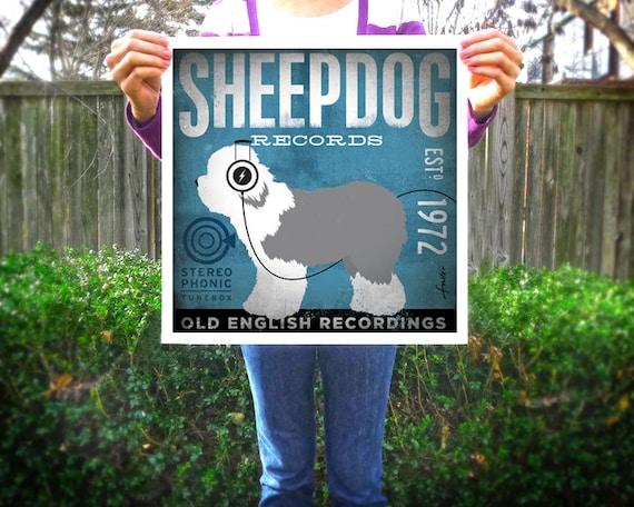 OLD ENGLISH SHEEPDOG SHEPHERD SHEEP AND DOGS VINTAGE STYLE DOG ART PRINT POSTER