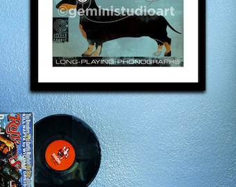 DACHSHUND dog records album style artwork graphic illustration giclee print by stephen fowler