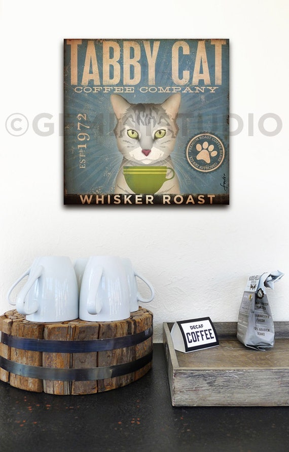 Tabby Cat Coffee Company Illustration Graphic Art On Gallery Etsy