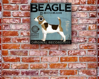 Beagle Records album style artwork original illustration graphic art on canvas by stephen fowler