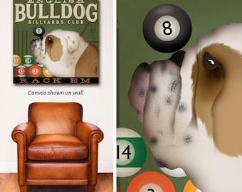 engilsh bulldog, dog , billiards, pool, game room, man cave, dog lover, wall art, canvas art