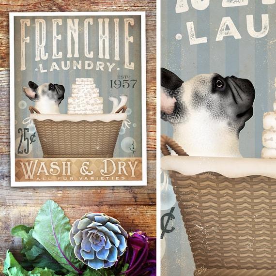 Frenchie French Bulldog dog laundry basket laundry room art vintage style artwork by Stephen Fowler Giclee Signed Print