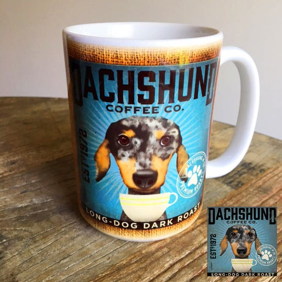 Dapple Dachshund Dog Coffee Company Graphic Art Mug 15 Oz Etsy