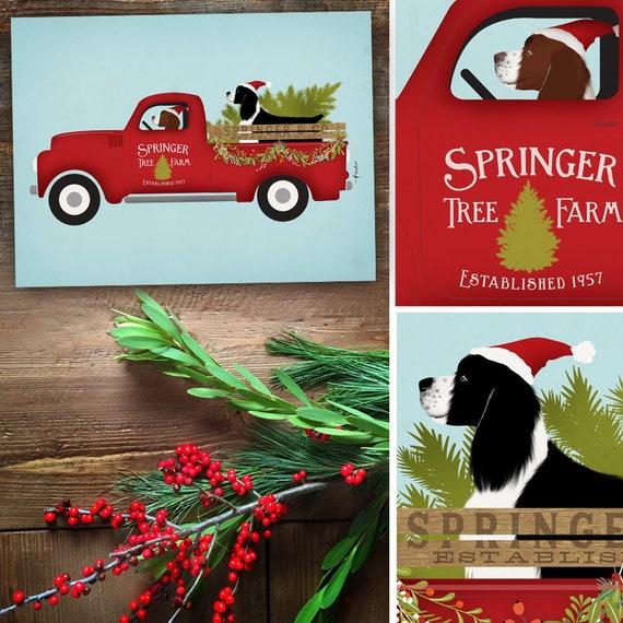Christmas Tree Farms In North Georgia: Springer Spaniel Dog Christmas Tree Farm Red Truck Holiday