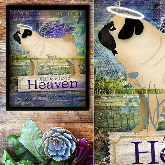 All Dogs Go To Heaven Pug Hand Painted Keepsake Frame Canvas Etsy