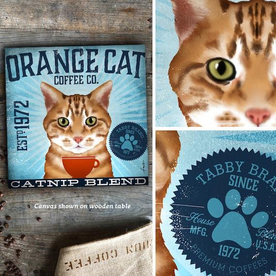 Orange Tabby Cat Coffee Company Graphic Artwork On Gallery Etsy