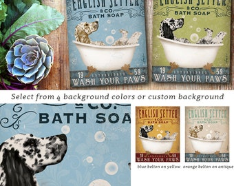 English Setter dog bath soap Company vintage style artwork on gallery wrap OR canvas panel