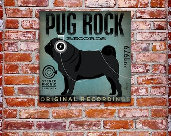 PUG ROCK records album style graphic artwork on gallery wrapped canvas by stephen fowler