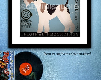 Wire Fox Terrier dog records album style artwork graphic illustration giclee print by stephen fowler