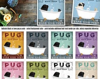 pug, dog, fawn, black, bath, tub, bathtub, bubble bath, clawfoot tub, soap, powder room, UNFRAMED, print
