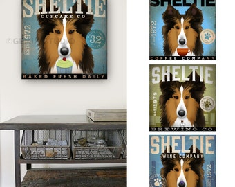 Sheltie dog art coffee beer wine cupcake company original graphic illustration on gallery wrapped canvas by stephen fowler