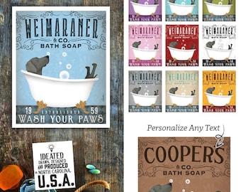 weimaraner, grey dog, dog, bath tub, clawfoot tub, bubble bath, powder room, UNFRAMED, art, personalized gift