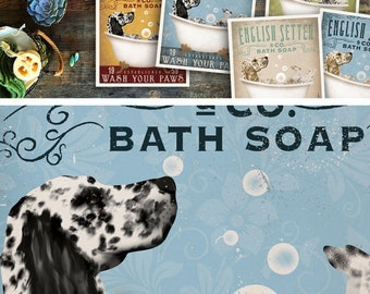 English Setter dog bath soap Company vintage style artwork by Stephen Fowler Giclee Signed Print