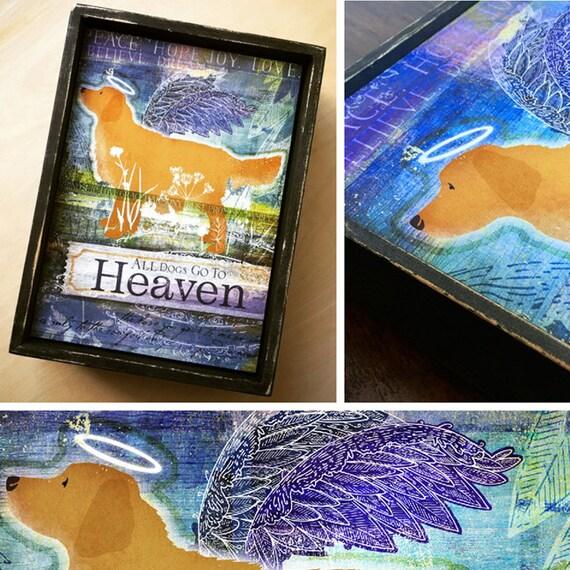 All Dogs Go To Heaven Golden Retriever Hand Painted Keepsake 8 Etsy