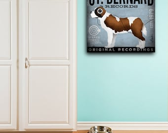 St Bernard Saint dog records album style artwork illustration gallery wrap on canvas by Stephen Fowler geministudio