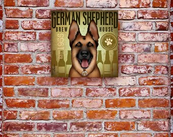 German Shepherd Brewing Company original graphic illustration on gallery wrapped canvas by Stephen Fowler