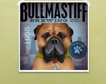 Bullmastiff Brewing Company original graphic bar art giclee print by stephen fowler