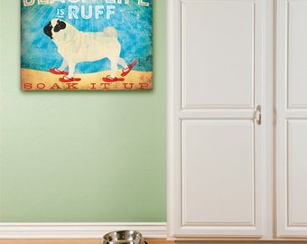 Pug beach life dog in sandals illustration graphic artwork on gallery wrapped canvas by Stephen Fowler Customize it!