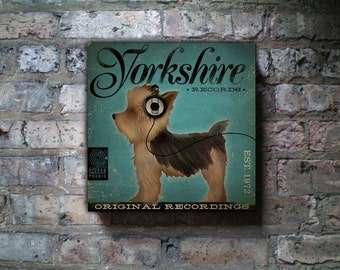 Yorkshire records Yorkshire terrier album style artwork on gallery wrapped canvas by stephen fowler