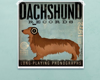 DACHSHUND records album style artwork original graphic illustration giclee archival print