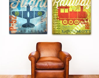 Childrens Transportation Artwork Plane or Train graphic childrens artwork on gallery wrapped canvas by Stephen Fowler