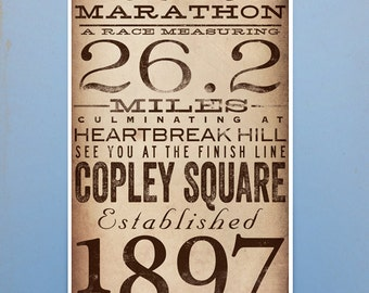 Boston Marathon original typography artwork by stephen fowler signed giclee artists print